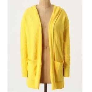 Anthropology Sparrow Yellow Hooded OpenCardigan XS